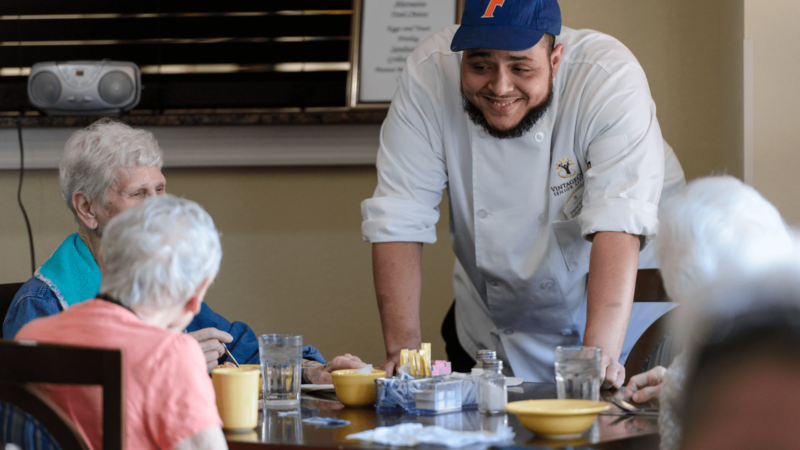 chef with residents